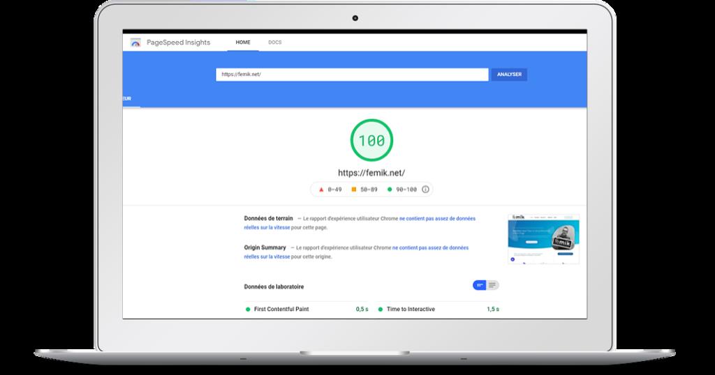 Score googleSpeed Insights FEMIK 68 à 100
